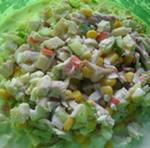 Праздничный салат с кальмарами и овощами