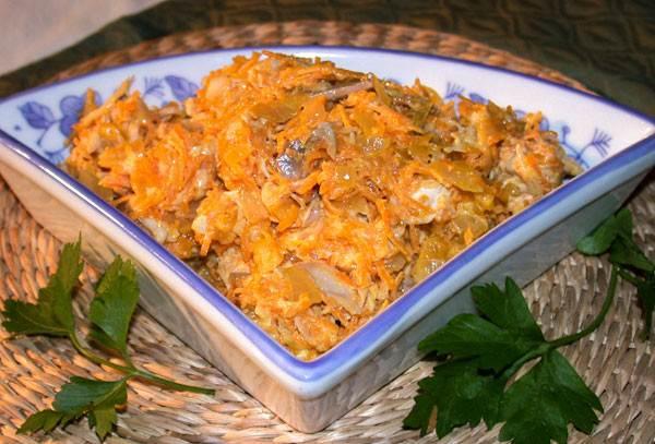 Salatik iz morkovi luka i kurinogo okorochka Салатик Ананасовый рай