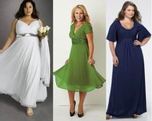 Фото: формальный стиль, по центру атласное, справа кружевное. По-прежнему популярны модные платья для полных женщин 2015