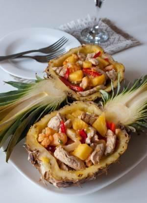 Salat iz indeyki v ananase   Noch lyubvi   Рулет из грудки индейки с прованскими травами