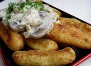 Kartofelnyie palochki s gribami Картофельные гнезда с листовой свеклой и яйцом
