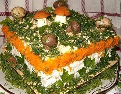 Kurinyiy tort zakusochnyiy   Polyana   Мясные стожки