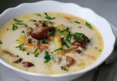 Syirnyiy sup s kurinyim farshem i opyatami Сырный суп с куриным фаршем и опятами