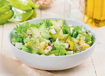 Salat s karamboloy i avokado Авокадо, фаршированное овощами и креветками
