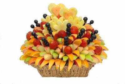 Buket iz fruktov     ochen originalnyiy i nezabyivaemyiy podarok k lyubomu torzhestvu Букет из фруктов – очень оригинальный и незабываемый подарок к любому торжеству