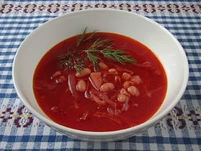 Aromatnyiy borshh s fasolyu i gribami Ароматный борщ с фасолью и грибами