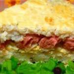 Vozdushnaya risovaya zapekanka s sosiskami na zavtrak 150x150 Острый салат из креветок, фасоли, перца и яичной лапшей