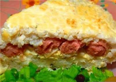 Vozdushnaya risovaya zapekanka s sosiskami na zavtrak Воздушная рисовая запеканка с сосисками на завтрак