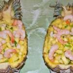 Ananas s krevetkami   150x150 Лапша Соба с обжареной курицей, маринованным имбирем, ростками бобов и креветками