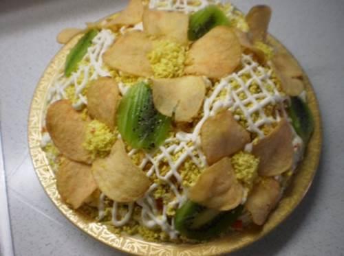 Salat   Orhideya   Салат с ветчиной слоями «Орхидея»