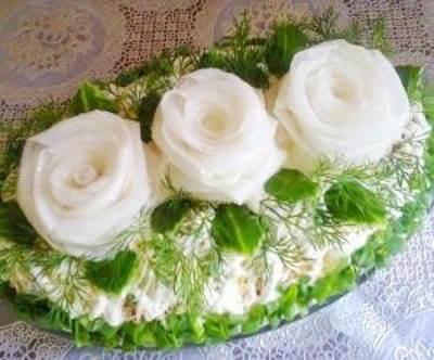 "Salat    Belyie rozyi    Салат ""Белые розы"""