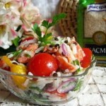 Salat s chechevitsey semgoy risom i svezhimi ovoshhami 150x150 Грибной винегрет с краснокочанной капустой