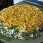 Salat Sloenaya kuritsa 150x150 Салат слоями с грибами Ромашка