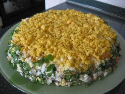 Salat Sloenaya kuritsa Салат Слоеная курица