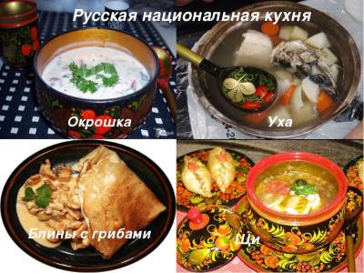 Russkie natsionalnyie blyuda i ih otlichitelnyie osobennosti Русские национальные блюда и их отличительные особенности